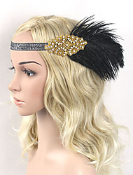Women's Feather / Rhinestone Elasticity Headpiece-Special Occasion / Party Flowers 1 Piece Black