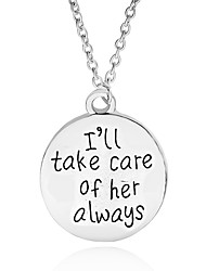 Necklace I'll Take Care of Her Always Pendant Necklaces Jewelry Party / Daily Unique Design