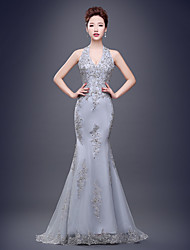 Formal Evening Dress Trumpet / Mermaid Halter Sweep / Brush Train Tulle with Lace