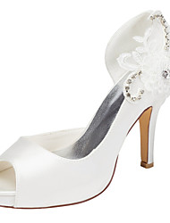 Women's Heels Spring / Summer Platform Stretch Satin Wedding / Party & Evening / Dress Stiletto Heel Crystal Ivory / White Others
