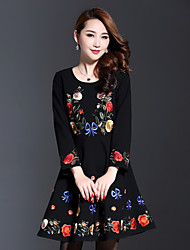AINIER Women's Casual/Daily Chinoiserie Loose DressEmbroidered Round Neck Above Knee Long Sleeve Black Cotton