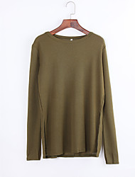 Women's Casual/Daily Simple Summer / Fall T-shirt,Solid Round Neck Long Sleeve Green Polyester Opaque