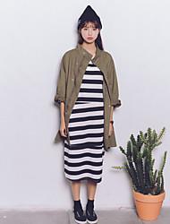 Feminino Casaco Casual Moda de Rua Primavera / Outono,Sólido Verde Poliéster Decote Redondo-Manga Longa