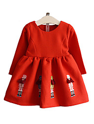 Girl's Cotton Spring/Fall Fashion Casual/Daily Cartoon Embroidered Long Sleeve Princess Dress Skirt