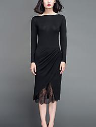 Chocolatone Women's Formal Simple Bodycon DressSolid Round Neck Midi Long Sleeve Black Spandex Spring