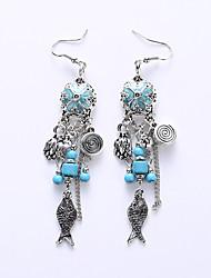 The European And American Fashion Flower Small Earrings Hyperbole Earrings Long Restoring Ancient Ways Folk Customs Earrings