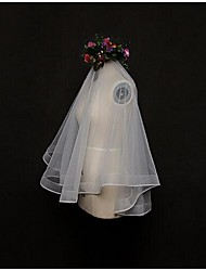 Wedding Veil One-tier Blusher Veils / Elbow Veils / Fingertip Veils Lace Applique Edge Tulle