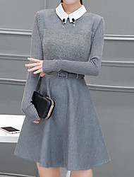 Women's Going out Simple A Line DressSolid Shirt Collar Above Knee Long Sleeve Gray Polyester Fall