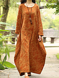 Cynthia Women's Casual/Daily Chinoiserie Loose DressFloral Round Neck Maxi Long Sleeve Orange Cotton