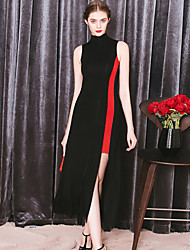 MASKED QUEEN Women's Asymmetrical Going out Simple Sheath DressColor Block Turtleneck Knee-length Sleeveless Black