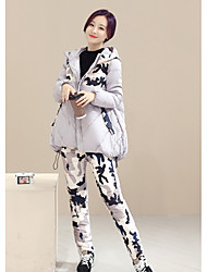 Women's Going out Simple Winter Set Pant Suits,Camouflage Hooded Long Sleeve Blue / Black / Gray / Green Polyester Thick