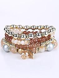 Women's Girls' Bracelet Strand Bracelet Multi Layer Handmade Beaded Acrylic Resin Alloy Jewelry For Congratulations Business Gift Outdoor