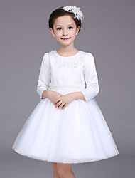 A-line Knee-length Flower Girl Dress - Cotton / Satin / Tulle 3/4 Length Sleeve Jewel with Appliques / Pearl Detailing
