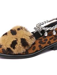 Damen-Loafers & Slip-Ons-Büro Lässig Party & Festivität-Kunststoff Pelz-Niedriger Absatz-Komfort-Schwarz Leopardenmuster