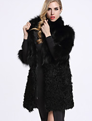 BF-Fur Style Women's Casual/Daily Sophisticated Fur CoatSolid Shirt Collar  Sleeve Winter Black Wool / Fox Fur