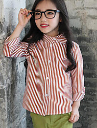 Girl Casual/Daily Striped Blouse,Cotton Fall ¾ Sleeve Regular