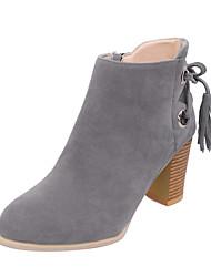 Damen-Stiefel-Kleid Lässig-PU-Blockabsatz-Komfort-Schwarz Grau Beige