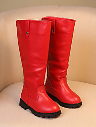 Girl's Boots Fall / Winter Comfort Cowhide Dress / Casual Flat Heel Others Black / Red / Burgundy Walking