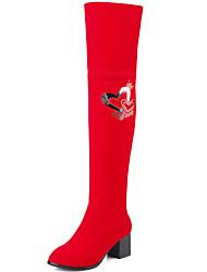 Mujer-Tacón Robusto-Botas a la Moda-Botas-Oficina y Trabajo / Vestido / Casual-Semicuero-Negro / Rojo