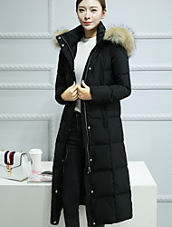 Women's Long Down Coat,Simple Casual/Daily Solid-Cotton White Duck Down Long Sleeve Hooded Black