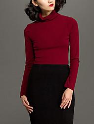 Damen Solide Einfach Lässig/Alltäglich T-shirt,Rollkragen Herbst / Winter Langarm Rot Polyester Mittel
