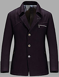 Men's Plus Size / Casual/Daily / Formal Vintage / Simple Fall / Winter BlazerSolid Shirt Collar Long Sleeve Cotton / Acrylic 916459