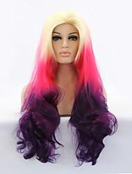 sylvia dentelle synthétique avant perruque blonde résistante longue vague natual purple trois tons cheveux ombre de chaleur de cheveux