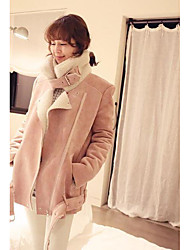 Women's Casual/Daily Street chic Jackets,Solid Shirt Collar Long Sleeve Winter Pink PU Medium