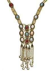 Women Bohemian Style Vintage Long Tassel Pearl Statement Necklace