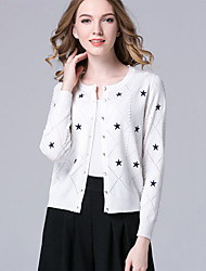 Women's Casual/Daily Simple Regular Cardigan,Geometric Red White Black Yellow Purple Round Neck Long Sleeve Cotton Spring Fall Medium