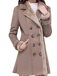 Damen Solide Einfach Übergröße Pelzmantel,Winter Hemdkragen Langarm Braun Dick Wolle