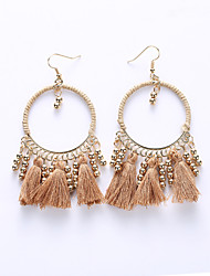 Europe And The United States Big Circle Eardrop By Hand South Korea Female Tassel Earrings Winding Cloth Earrings