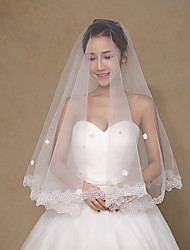 Wedding Veil Two-tier Fingertip Veils Pearl Trim Edge Tulle