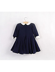 Girl's Going out Solid DressCotton Spring / Fall Blue