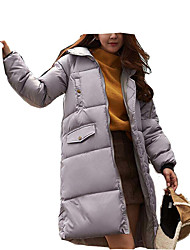 Women's Long Down Coat Print-Cotton / Polyester Polyester / Cotton Long Sleeve Round Neck Black / Gray / Green