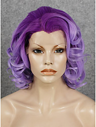 IMSTYLE 16''High QualityPurple Ombre Curly Synthetic Lace Wig Lace Front China Suppliers