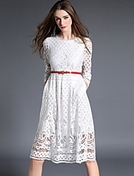Women's Plus Size / Going out Vintage / Sophisticated Lace DressSolid / Embroidered Round Neck Knee-length