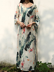 Damen Tunika Kleid-Lässig/Alltäglich Chinoiserie Blumen Rundhalsausschnitt Maxi ¾-Arm Weiß Baumwolle / Leinen Frühling / HerbstMittlere
