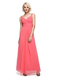 Ankle-length Chiffon Elegant Bridesmaid Dress - A-line Straps with Sash / Ribbon / Side Draping / Ruching