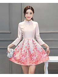 Feminino Evasê Vestido,Happy-Hour Vintage Jacquard / Bordado Colarinho Chinês Acima do Joelho Manga ¾ Rosa Algodão Primavera / Outono