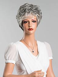 bouclés court capless perruques de haute qualité humaine cheveux gris couleur mélangée 8 Maxi