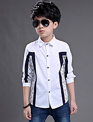Boy's Wild Formal Check Plaid Patchwork Cotton Long Sleeve Shirt