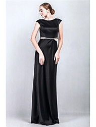 Formal Evening Dress Sheath / Column Bateau Floor-length Satin with Crystal Detailing
