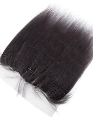 13x4 Lace Kinky Straight Human Hair Full Lace Frontal Medium Brown Swiss Lace about 50g gram Average Cap Size