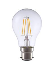 4W B22 Ampoules à Filament LED A60(A19) 4 COB 400 lm Blanc Chaud Décorative V 1 pièce