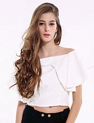 Damen Solide Einfach Ausgehen / Lässig/Alltäglich T-shirt,Bateau Sommer / Herbst Kurzarm Weiß Baumwolle / Polyester Dünn