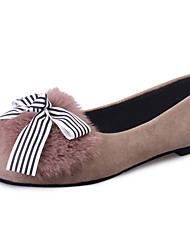 Feminino-Sapatos de Barco-Conforto-Rasteiro-Preto / Camelo-Couro Ecológico-Casual