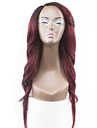 New Style Pink Red Two Tones Ombre Hair Lace Front Natural Wavy Synthetic Lace Wigs