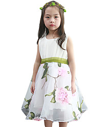 Girl's Going out Floral Dress,Others Summer Pink / Yellow