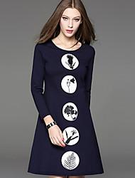 Trapèze Robe Femme Décontracté / Quotidien simple,Imprimé Col Arrondi Au dessus du genou Manches Longues Bleu Coton / Nylon / Spandex
